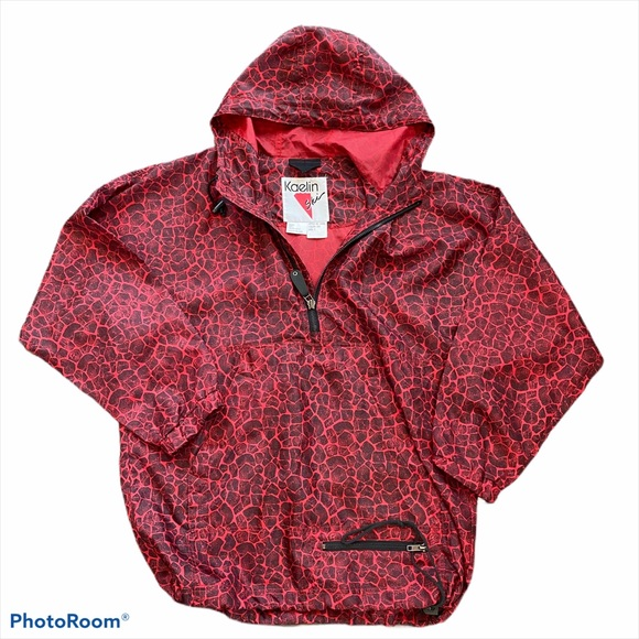 light weight vintage unisex with zipper and metal togle NOS NEW 1980s XL jacket-red